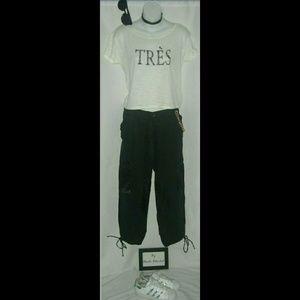 Zara Cropped Cargo Pants Black Linen Street Wear